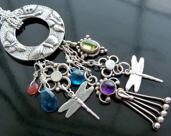 Butterflies n Dragonflies n Rainbows necklace amethyst pink n blue tourmaline neon apatite peridot in sterling silver daisies jewelry OOAK