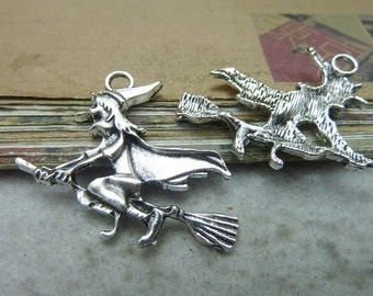 20 Witch Charms Antique Silver Tone Witch Riding Broom