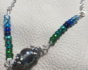 Blue/Green Crystal Beaded Ombré Beaded Necklace