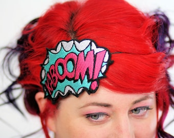 KABOOM Comic Headband, White, Turquoise and Pink