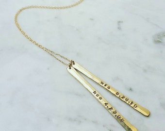 Double vertical straight bar necklace