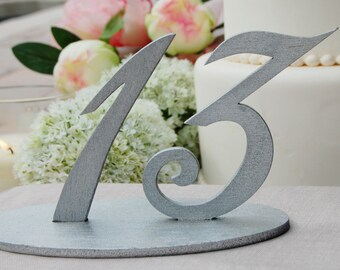 Silver Wedding Table Numbers, Wedding Table Number Signs, Wedding Reception Numbers, Wedding Table Decor, Silver Wedding Centerpiece