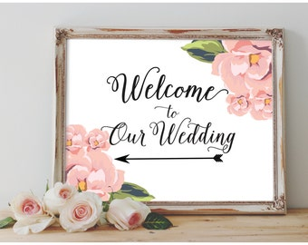 Floral Calligraphy Wedding Welcome Sign w/Left Arrow