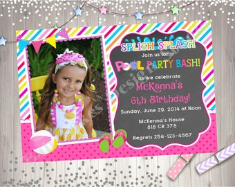 Pool Party Birthday Invitation Invite Photo Invitation Pool Party Bash Splish Splash Printable Invitation