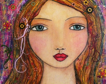 Mixed Media GIrl Portrait Art Print, Large Poster Print 50 cm x 40 cm (16x20 inches)