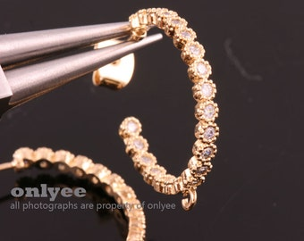 1pair/2pcs-23mmX2.5mmBright Gold Plated over Brass All Round Cubic Zirconia Ring earrings 92.5 sterling silver post Earring(K1006G)