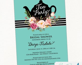 Tea Party Bridal Shower Invitation | Tea Party Invitation, Bridal Tea Party, Tea Party Invites, Printable Invitation, Digital File