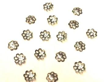 200 caps - T1 silver filigree bead caps