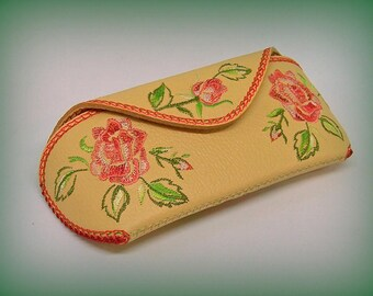 """Leather Glasses Case  Purse for Glasses """"Roses"""""""