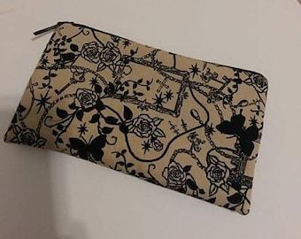 Goth Punk Zippered Wallet Pouch Make Up Bag Pencil Case Butterflies Crosses