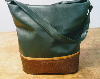 Bottle green and Brown faux leather handbag
