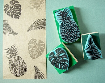 Tropical Rubber Stamps, set of 3 stamps, hand carved stamps, handmade, made in spain