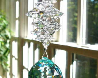 "Crystal Ball Suncatcher, Swarovski Window Hanger, Window Prism, Hanging Crystal in Turquoise or 12 Other Colors, Rainbow Maker - ""CATHERINE"""