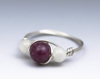 Lepidolite & Moonstone Sterling Silver Wire Wrapped Gemstone Bead Ring - Made to Order, Ships Fast!