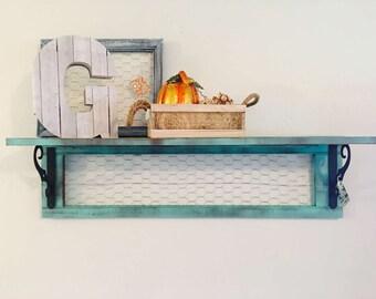 Shutter Shelf with Chicken Wire