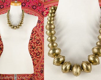 70's Beaded Brass Orb Necklace Disc Beads Necklace Chunky Metal Bib Necklace Tribal Necklace Bohemian Necklace Artsy Avant Garde Necklace