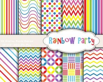 Instant Download Rainbow Color Digital Paper Rainbow Digital Scrapbook Paper Pack Rainbow Dots Rainbow Chevron Rainbow Party DIY 0166