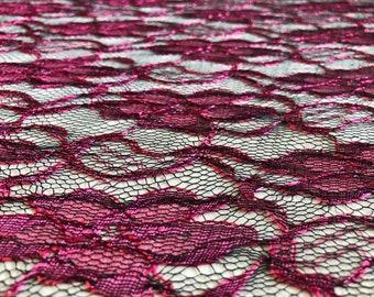 Lace fabric, black and fuchsia lace