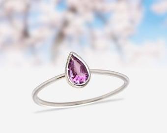 Purple Amethyst Stacking Ring Sterling Silver Ring Pear Shape Amethyst Gemstone Teardrop Rings Amethyst silver ring birthstone gift rings