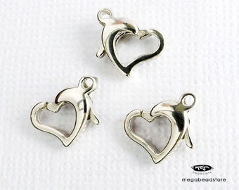 3 pcs Heart Trigger Clasp 925 Sterling Silver Lobster Claw Clasp F72