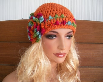 Crochet Hat Womens Hat Winter Fashion Accessories Women Beanie Hat Cloche in Orange with Multicolor stripes and flower