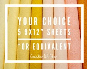 5 Wool Felt Sheets, Wool Blend Felt, Choose Your Own Colours, Wool Fabric, Nonwoven Fabric, Merino Wool, 9x12 Sheets, 12x18 Sheets