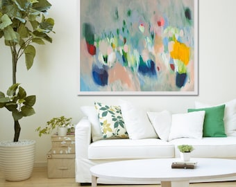 """large cream Print of ABSTRACT  PAINTING with light blue and pink  """"Shimmer Shimmer"""""""