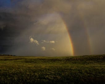 Double Rainbow on the Prairie Digital Photography Instant Download