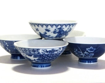 Five Japanese Blue and White Porcelain Footed Rice Soup Noodle Bowls Lotus Apple Blossoms Twins Honeycomb Motifs