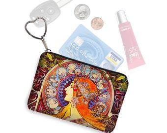 Small Zipper Pouch Coin Purse Keychain Key Fob Business Card Holder Purse Organizer Mucha Zodiac  Art Nouveau Woman blue orange fabric RTS