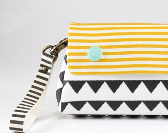 Black and white triangles coin purse, Women wallet, Vegan wallet for women, Cute wallet, Yellow and black wallet, Handmade wallet women