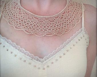 Knotted Lace Choker - Armenian Lace - Oya - Crochet - Ecru Wide Lace Collar Necklace
