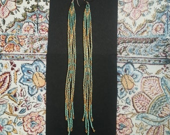 Nightingale..Long Shoulder Duster Gold Beaded Fringe Earrings