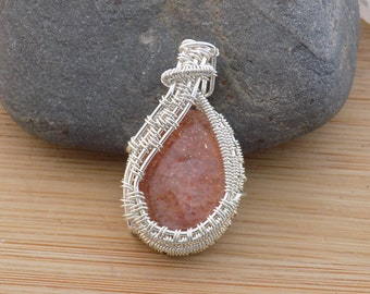 Sterling Silver Sunstone Cabochon Pendant Sparkling Peach Gemstone Pendant Sterling Silver Wire Wrapped Jewelry Handmade Wire Pendant