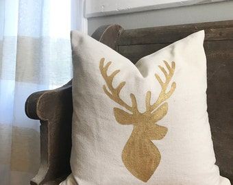 Gold Deer Pillow Cover