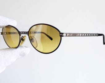 MOSCHINO by PERSOL vintage Sunglasses oval rare yellow lens heart love MM545 new NOS