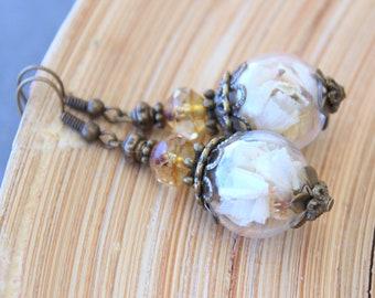 Beach Lilac Earrings Glass hollow bead 16 mm flowers