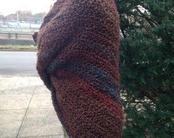 Shawl. Wrap Shawl. Outlander Inspired shawl, Crochet Shawl, Bulk Shawl, Wrap Bulky shawl, Winter Shawl, Triangle Shawl