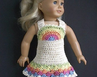 18 Inch Doll Clothes Crocheted Rainbow Dress Handmade to Fit the American Girl Doll - Spring and Summer Doll Dress