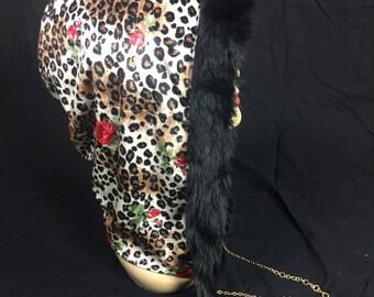 Red & Leopard Velvet Reversible Hood