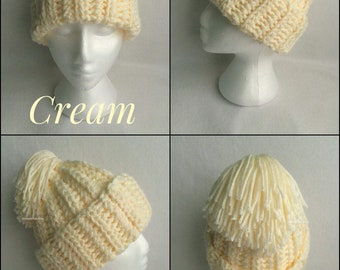 Cream Chunky Crochet Hat