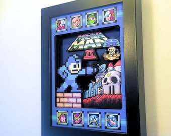 Mega Man 2 Shadow Box for Nintendo (NES) with layered 3D effect in the 8bit Style (Hand made) Mini