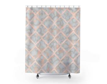pink marble shower curtain bathroom decor modern shower cute shower curtain marble - Cute Shower Curtains