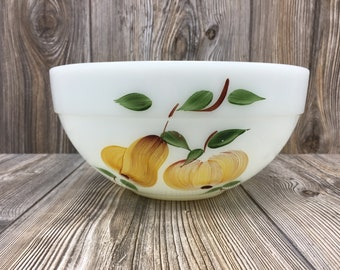Vintage Fire King Milk Glass Mixing Bowl with Fruit Design Farmhouse Shabby Chic