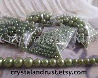 4-6-8-10mm Light Olivine Faux Loose Pearls ~ 4 bags