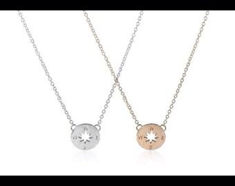 Compass necklace traveler travel bridesmaid gift
