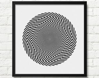 Black And White Optical Illusion Art, Abstract Art, Wall Art, Optical Illusion, Art Print, Wall Decor, Large Abstract Decor, Optical, Op Art