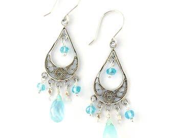Blue Gemstone Earrings. Chalcedony and Apatite Ocean Blue Sterling Silver Filigree Chandelier Earrings. Gift Under 50