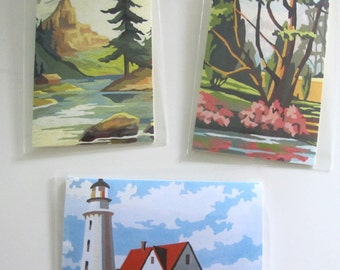 Set of 3 Gift Cards Vintage Paint by Number Scenes