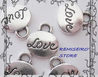 5 charm oval love silver